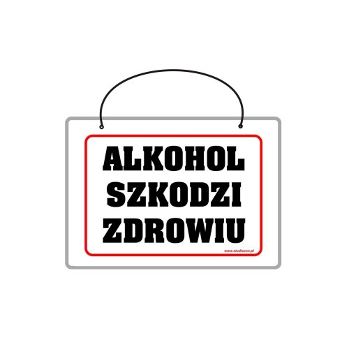 Tabliczka A5 laminowana z napisem alkohol szkodzi zdrowiu