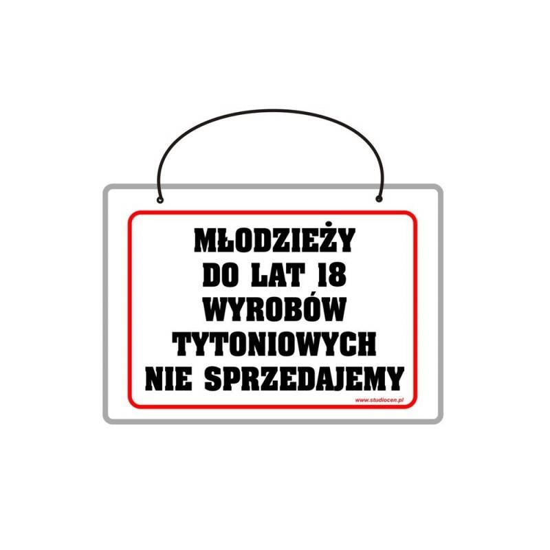 Tabliczka A5 laminowana z napisem młodzieży do lat 18 TA0049