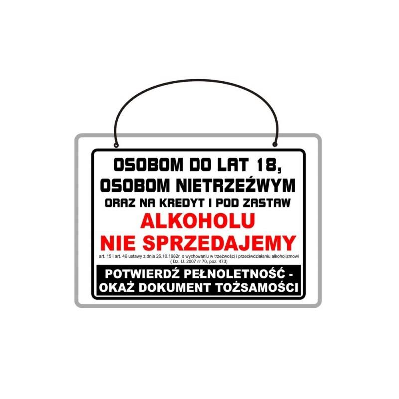 Tabliczka A4 laminowana z napisem osobom do lat 18 alkoholu nie sprzedajemy TA0037