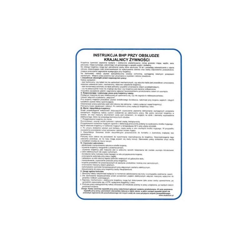 Instrukcja obsługi krajalnicy żywności TA0100