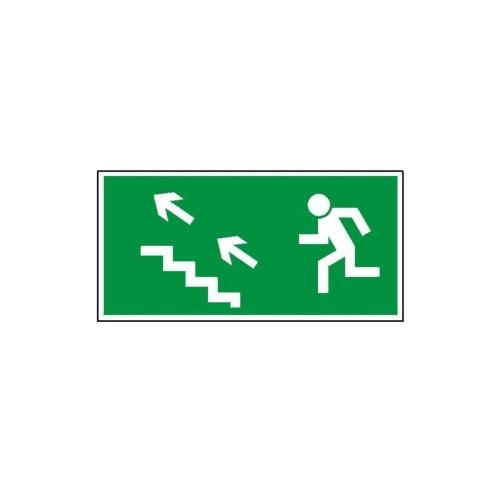 """Znak """"Kierunek do wyjścia drogi ewakuacyjnej schodami"""""""